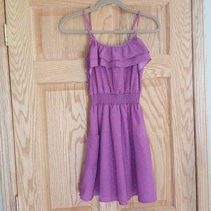 Pocket front ruffle polka dot summer dress Size xs